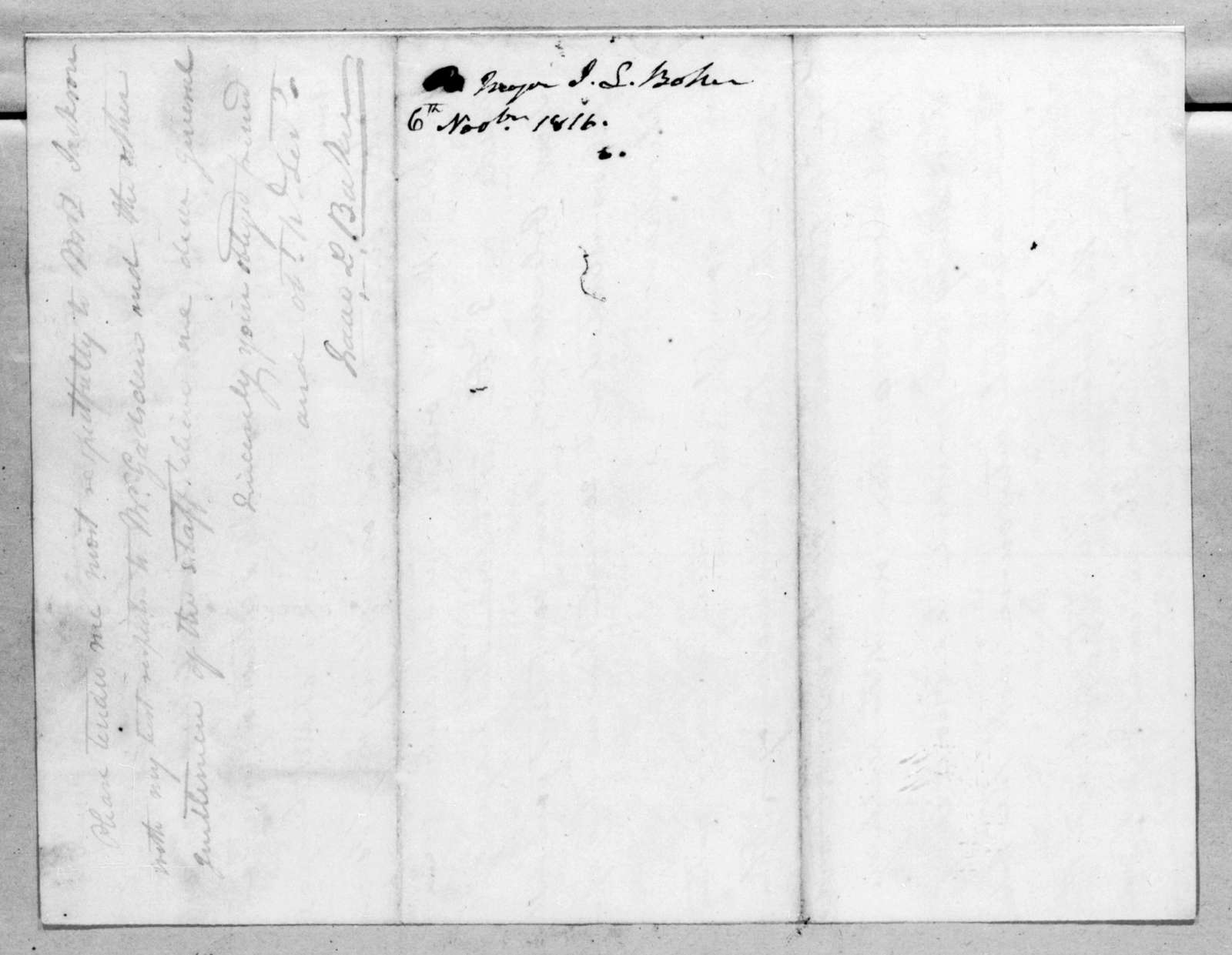 Isaac Lewis Baker to Andrew Jackson, November 6, 1816
