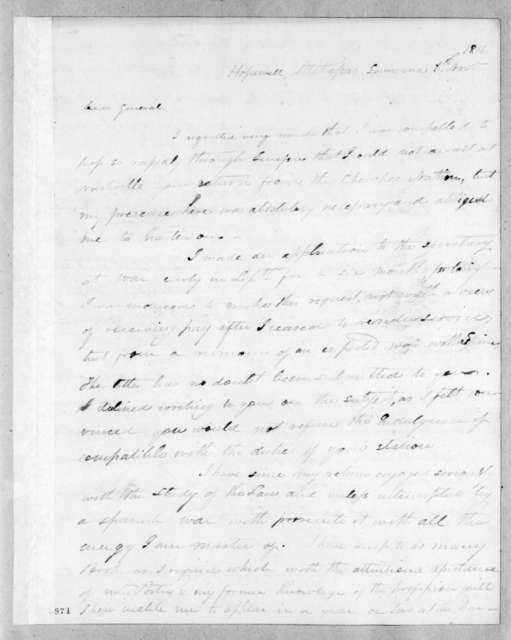 Isaac Lewis Baker to Andrew Jackson, November 6, 1816