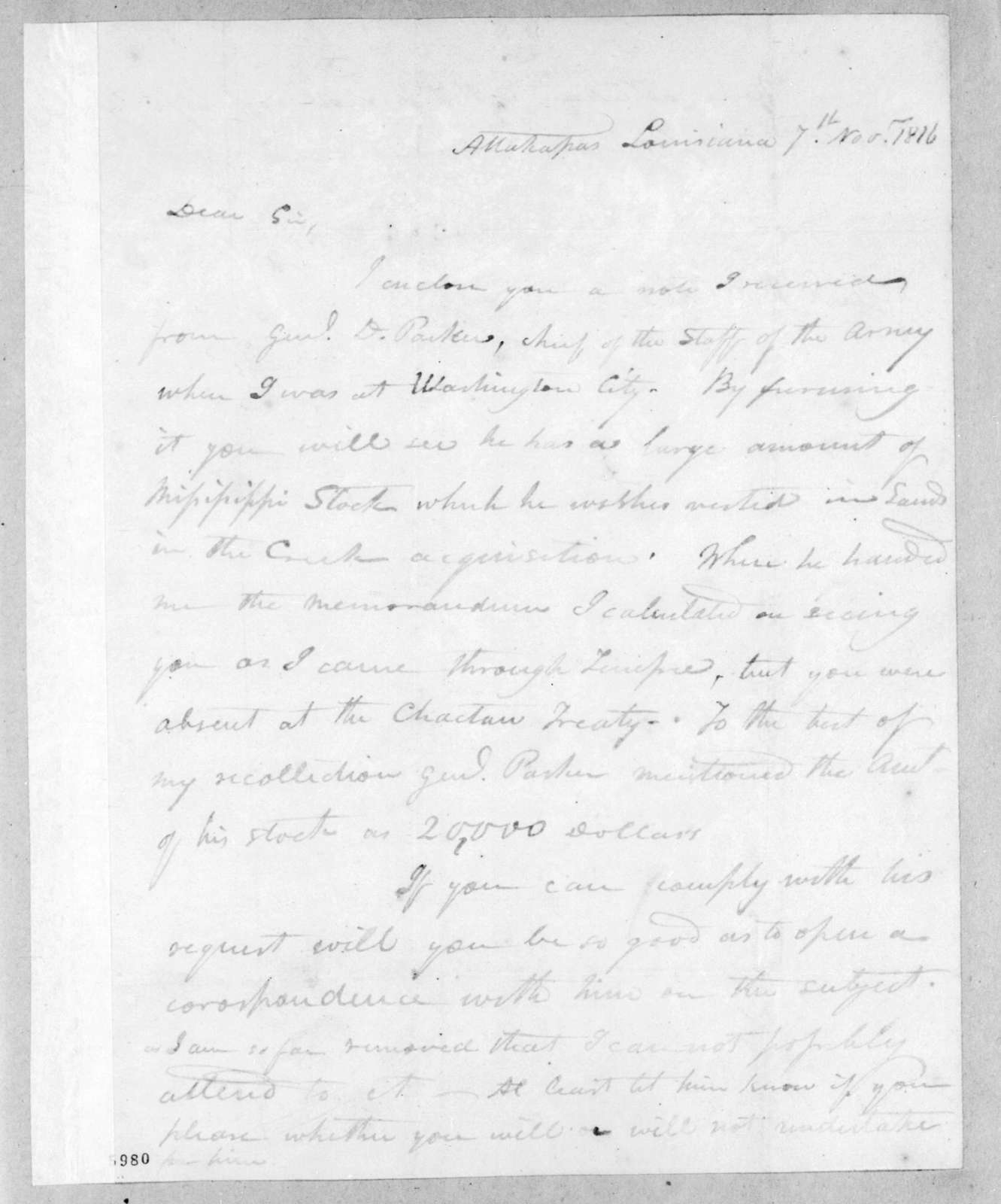 Isaac Lewis Baker to John Coffee, November 7, 1816