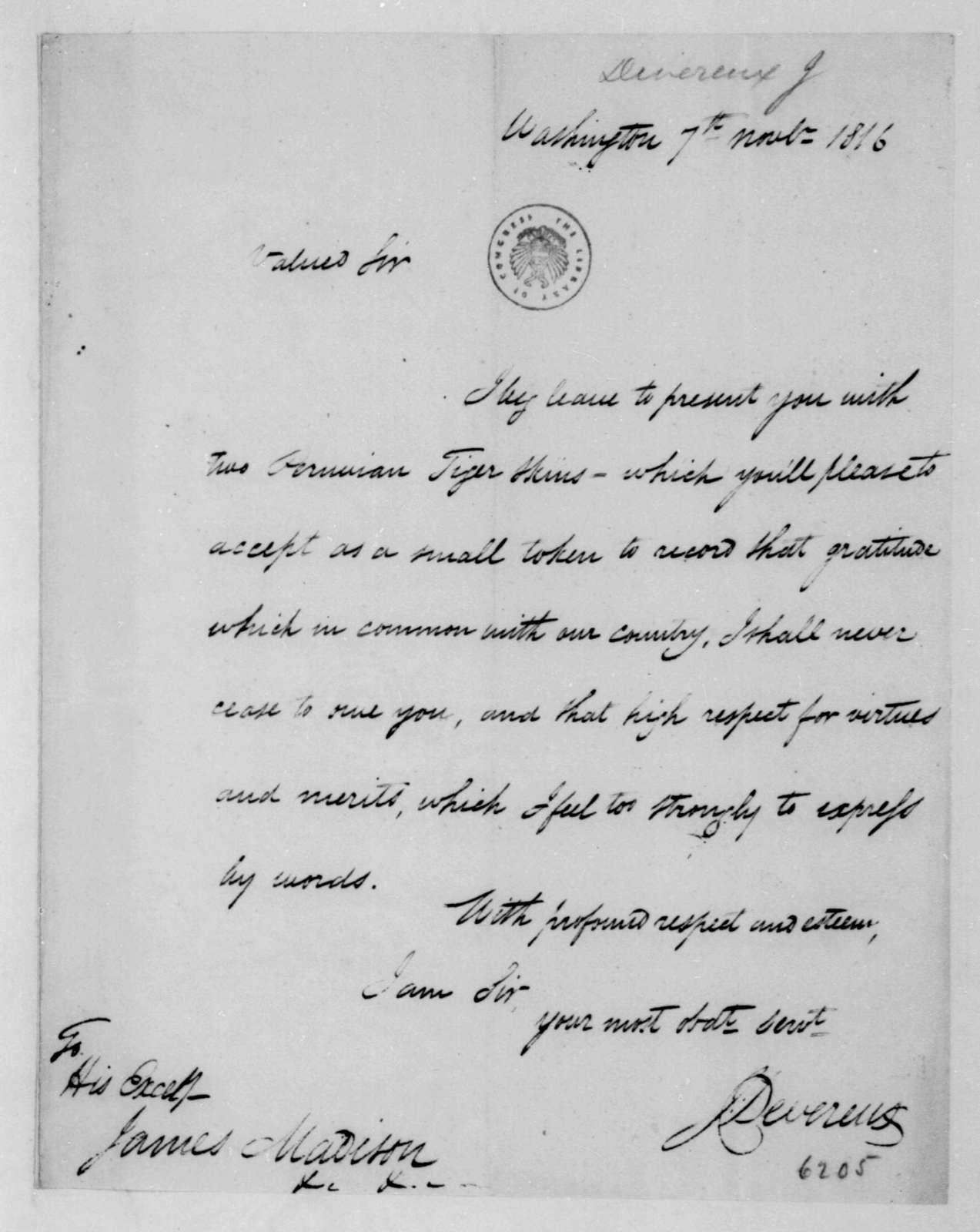 J. Devereux to James Madison, November 7, 1816.