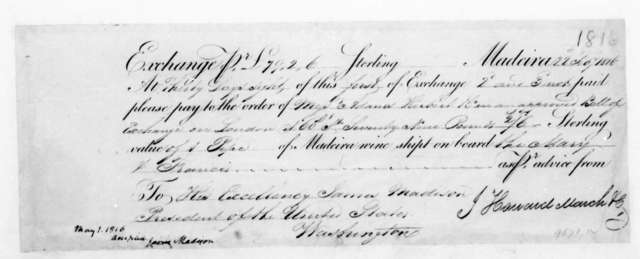 J. H. March & Co to James Madison, February 22, 1816. Invoice-Order to Pay.