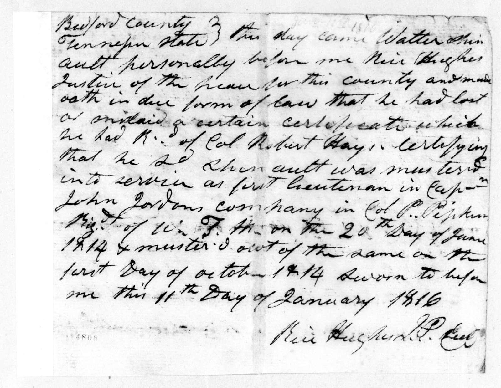 J. Hughes, January 11, 1816