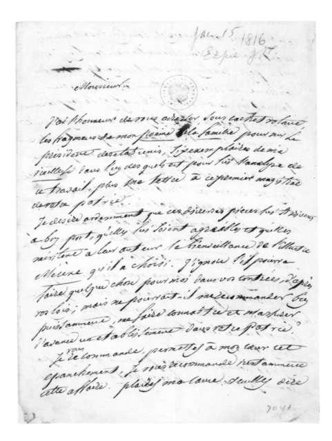 J. W. Espie to William Lee, January 15, 1816. In French-Docket JA 18.
