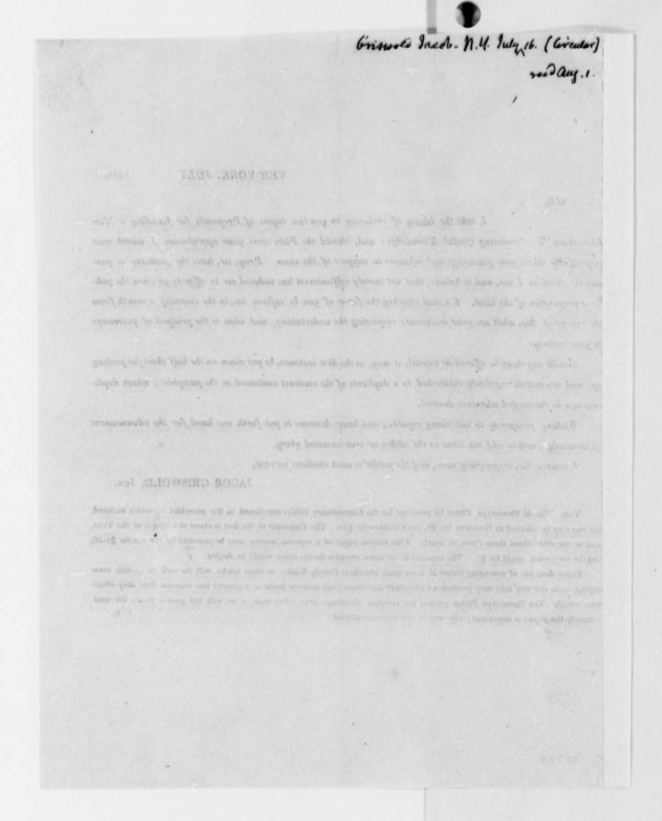 Jacob Griswold, Jr. to Thomas Jefferson, July 16, 1816, Broadside