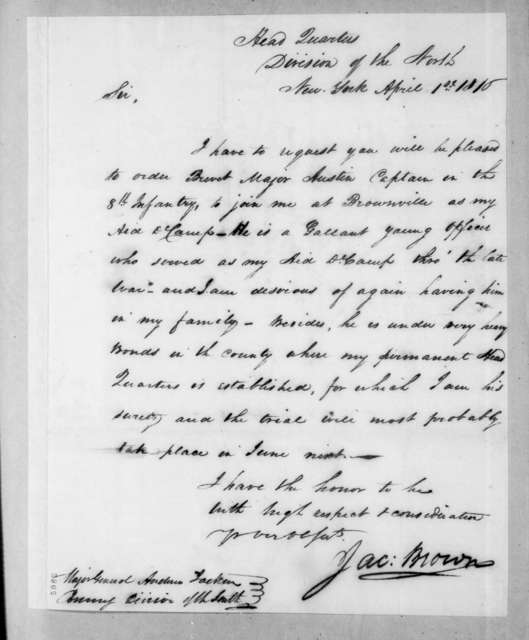 Jacob Jennings Brown to Andrew Jackson, April 1, 1816