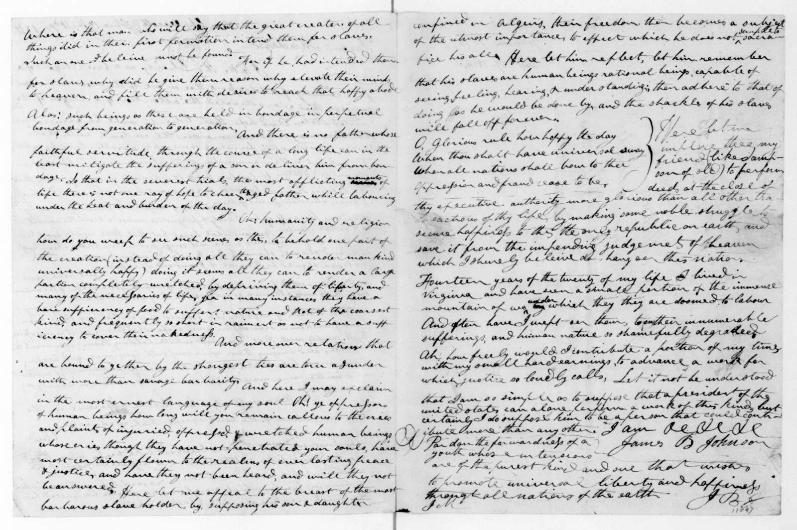 James B. Johnson to James Madison, December 17, 1816.