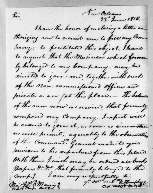 James B. Many to Enoch Humphrey, June 22, 1816