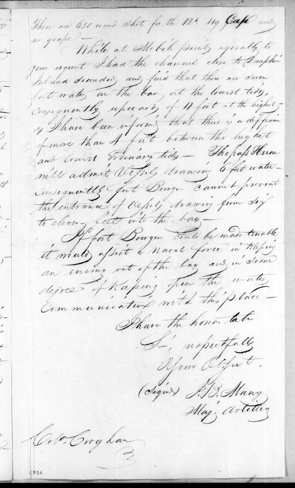 James B. Many to George Croghan, January 13, 1816