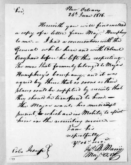 James B. Many to Thomas Sidney Jesup, June 26, 1816