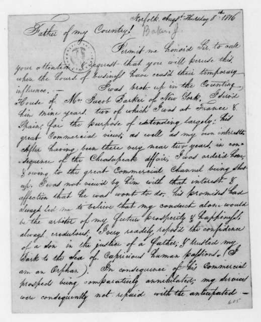James Baker to James Madison, August 8, 1816.