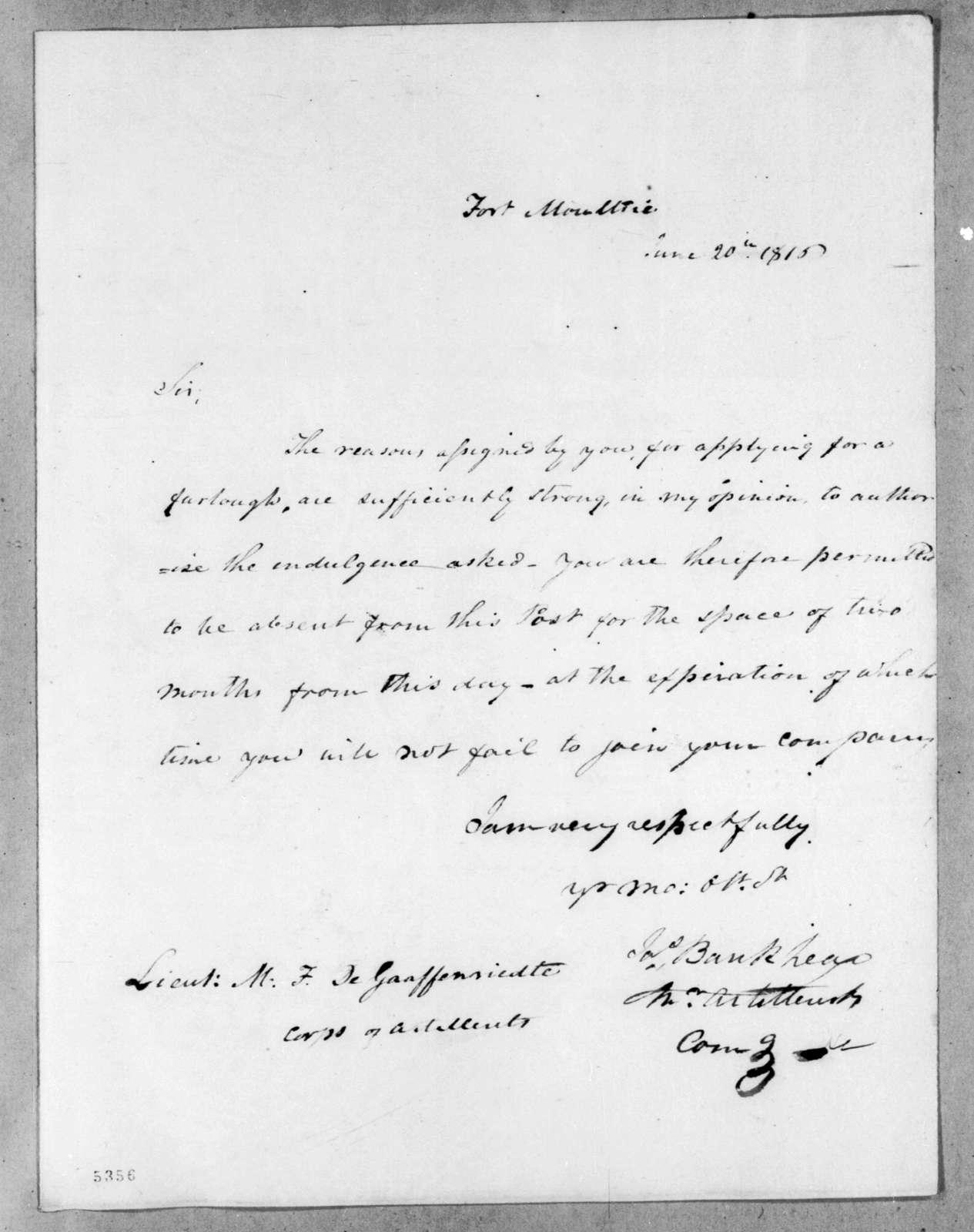 James Bankhead to Mathew F. Degraffenried, June 20, 1816