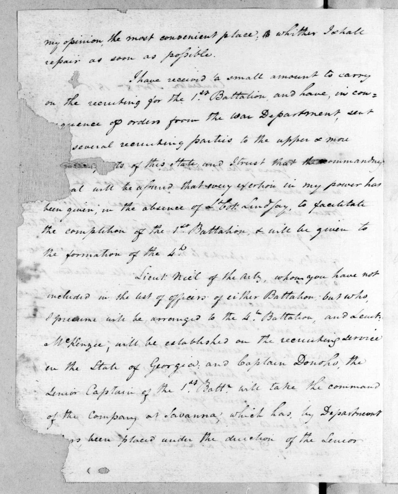 James Bankhead to Robert Butler, November 8, 1816