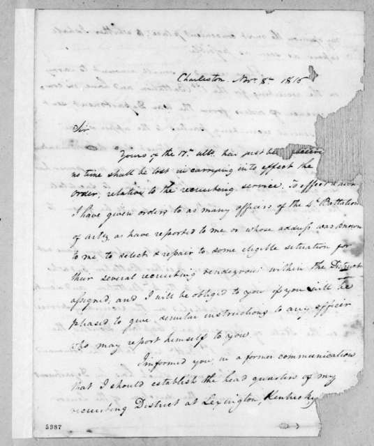 James Bankhead to Robert Butler, November 8, 1816