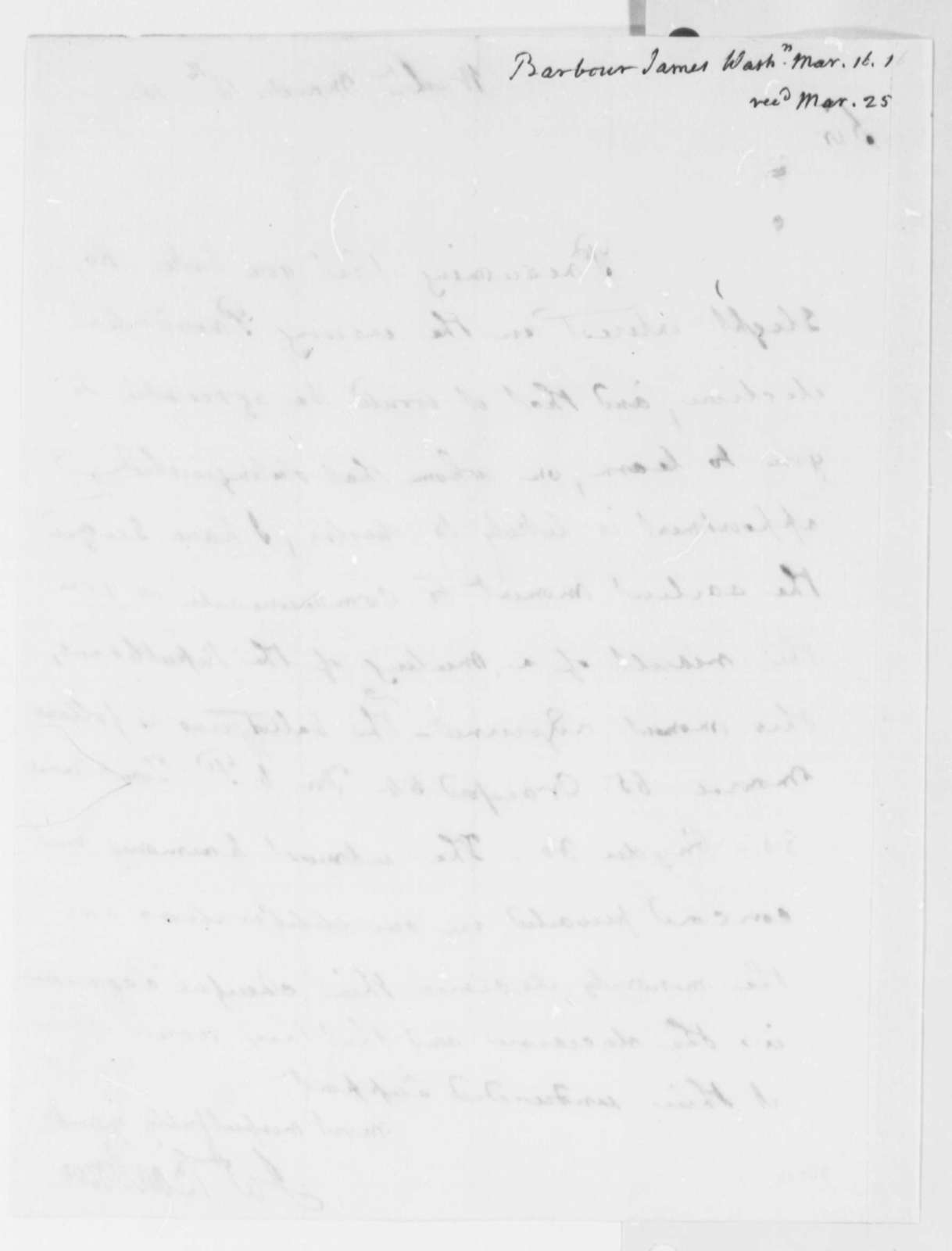 James Barbour to Thomas Jefferson, March 15, 1816