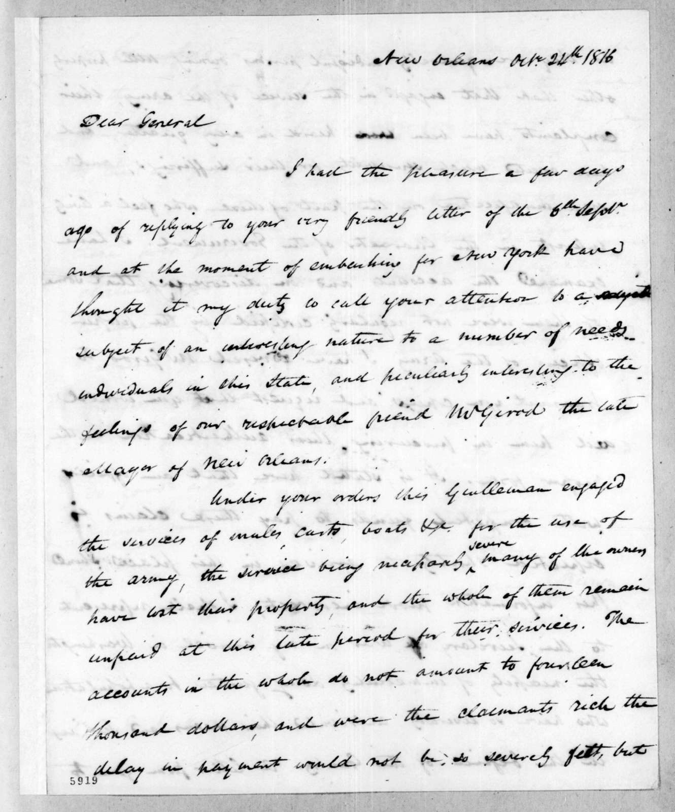 James Brown to Andrew Jackson, October 24, 1816