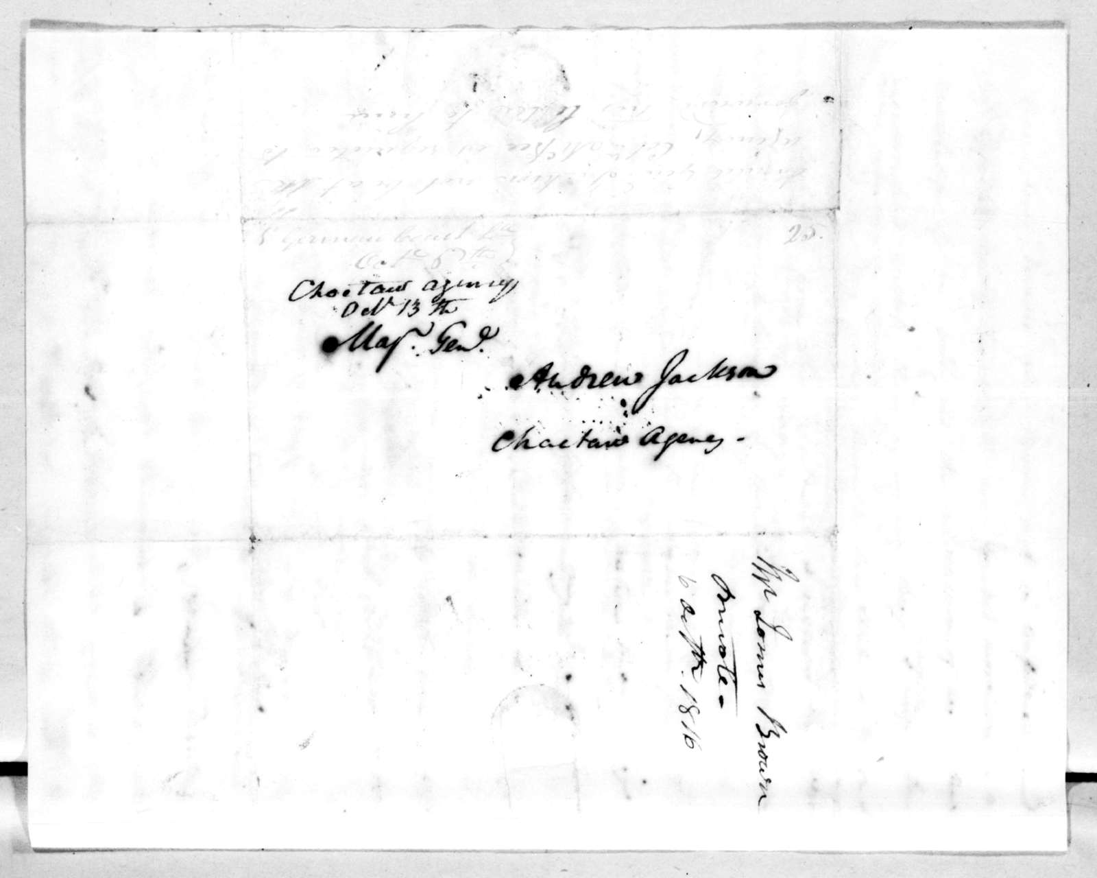 James Brown to Andrew Jackson, October 6, 1816