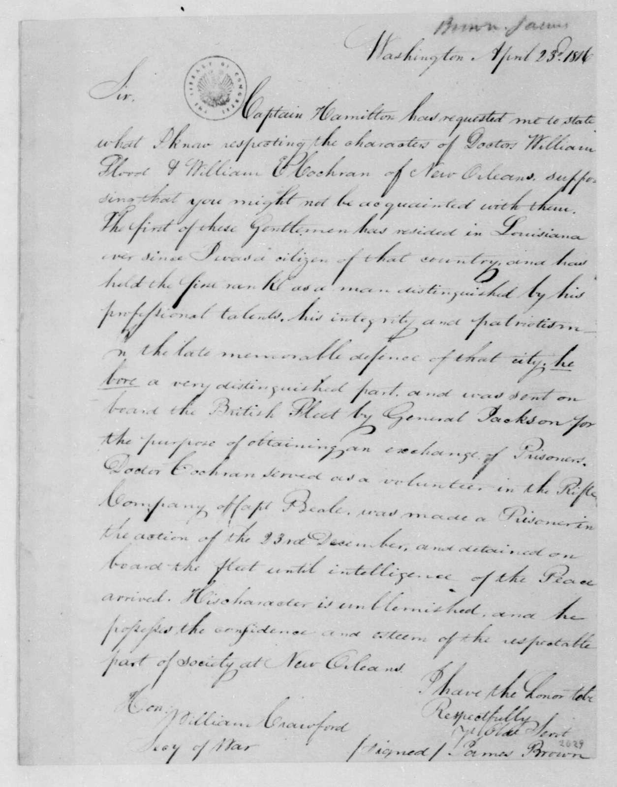 James Brown to William H. Crawford, April 23, 1816.