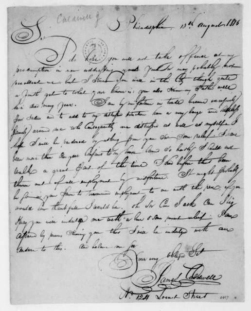 James Caldwell to James Madison, August 13, 1816.