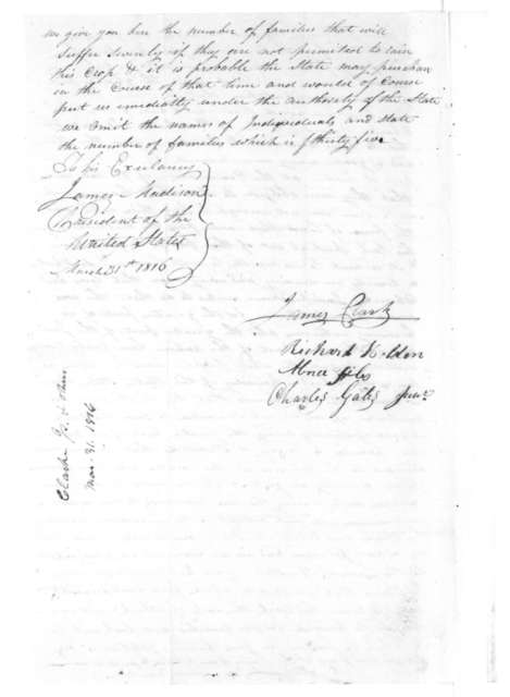 James Clarke to James Madison, March 31, 1816.