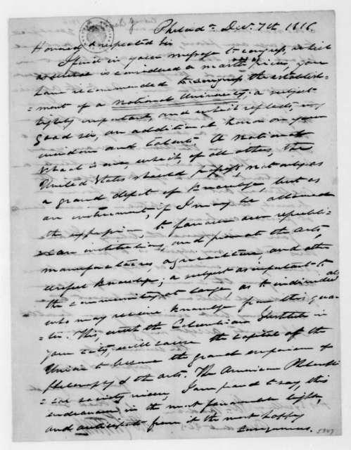 James Cutbush to James Madison, December 7, 1816.