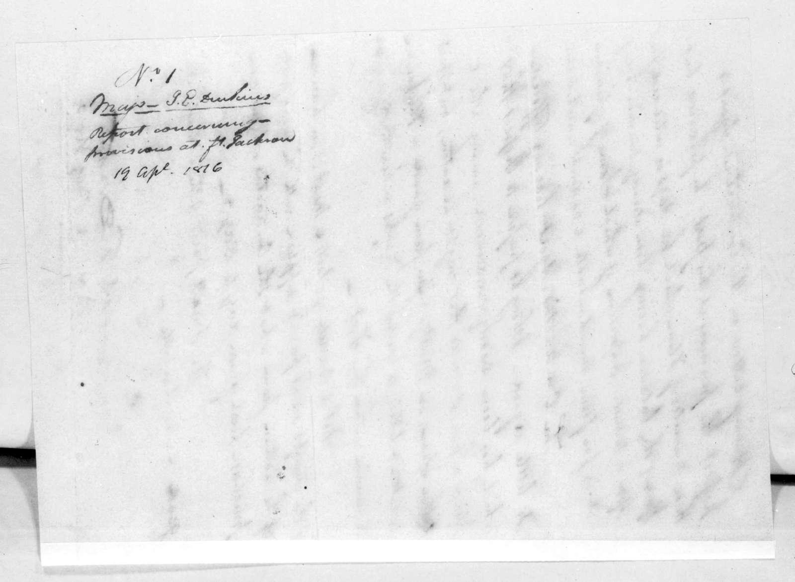 James Edward Dinkins to Andrew Jackson, April 19, 1816