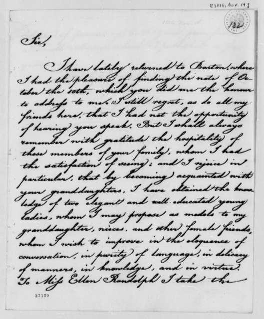 James Freeman to Thomas Jefferson, November 14, 1816