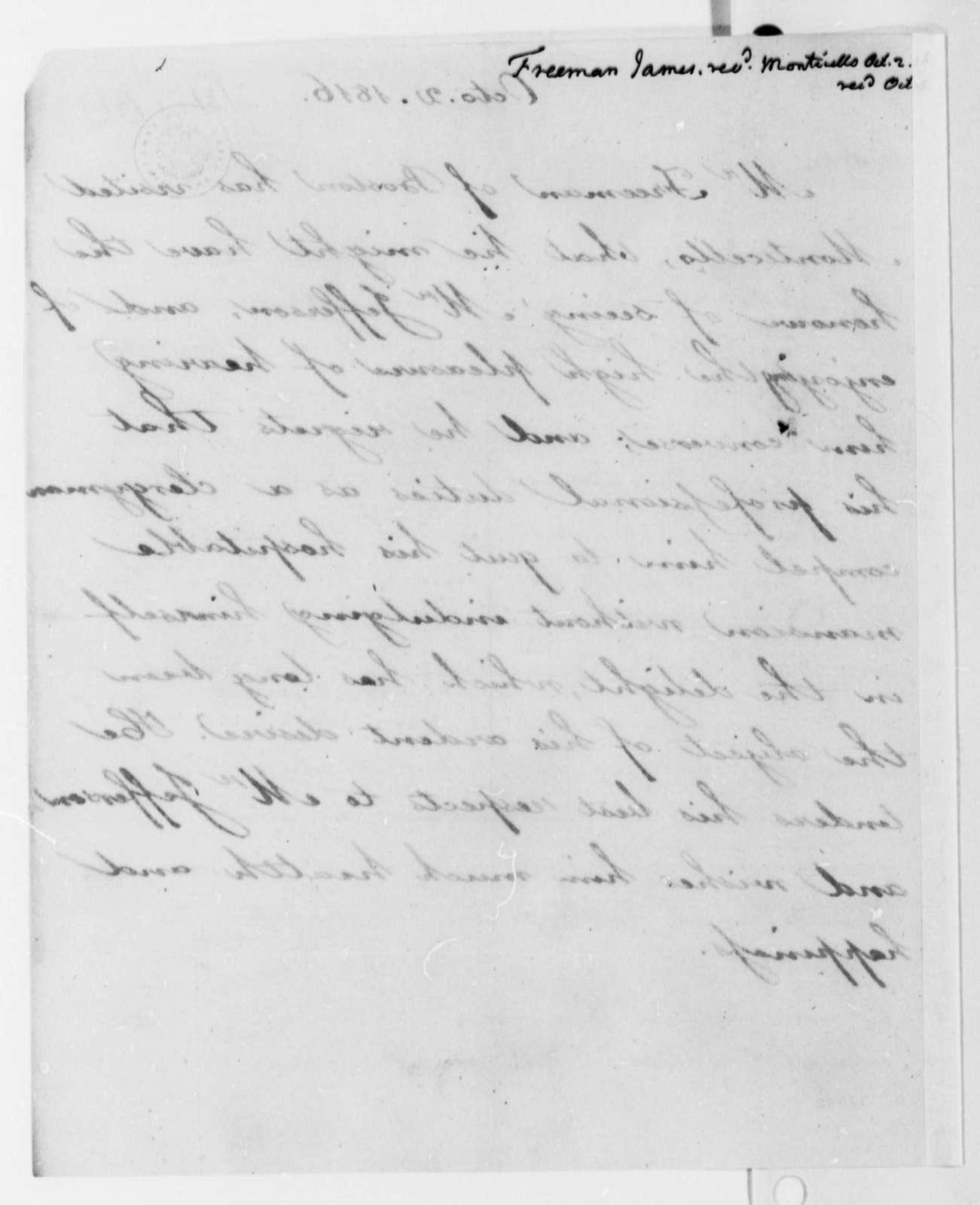 James Freeman to Thomas Jefferson, October 2, 1816
