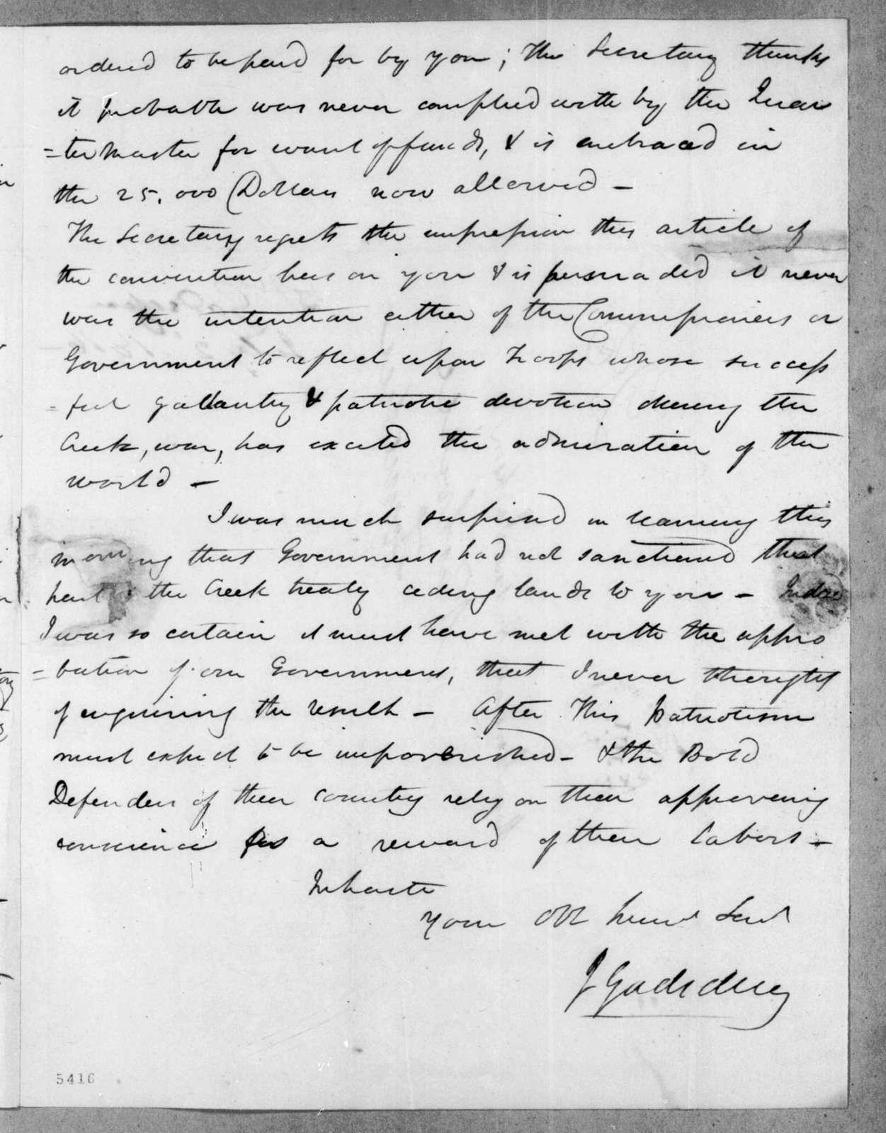 James Gadsden to Andrew Jackson, July 2, 1816
