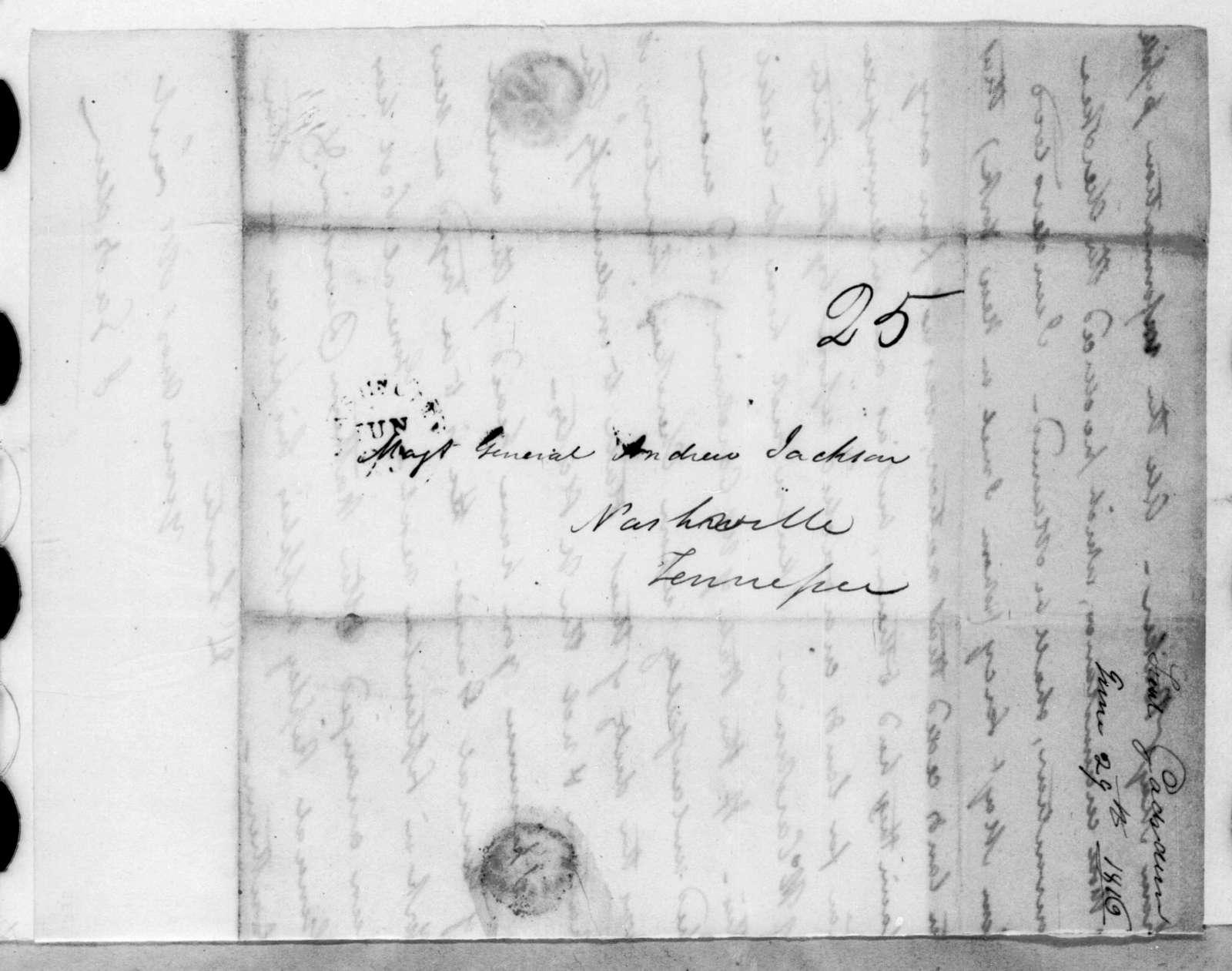 James Gadsden to Andrew Jackson, June 29, 1816