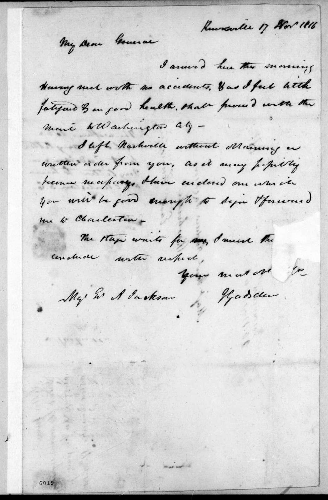 James Gadsden to Andrew Jackson, November 17, 1816