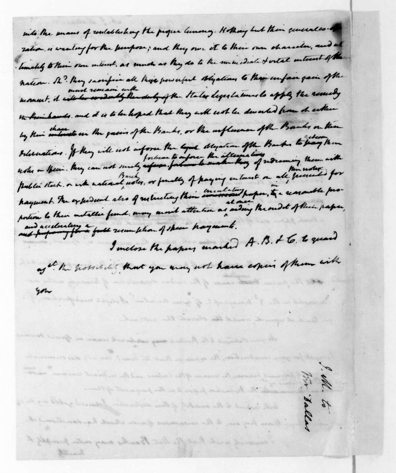 James Madison to Alexander J. Dallas, July 4, 1816.