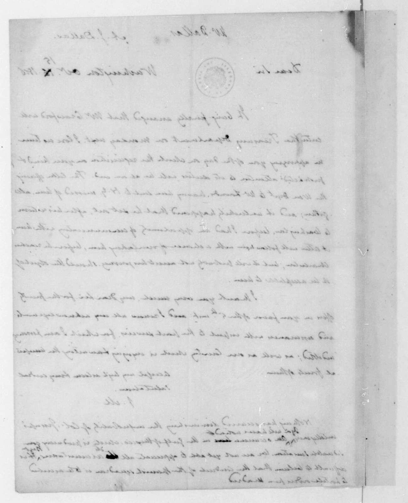 James Madison to Alexander J. Dallas, October 15, 1816.