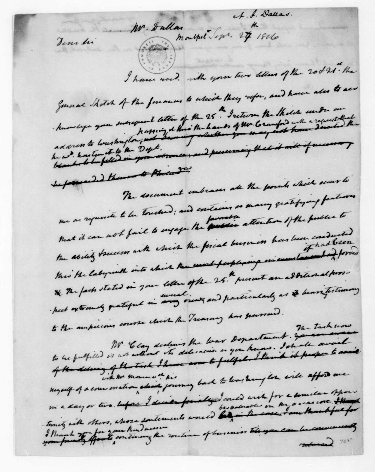 James Madison to Alexander J. Dallas, September 27, 1816.