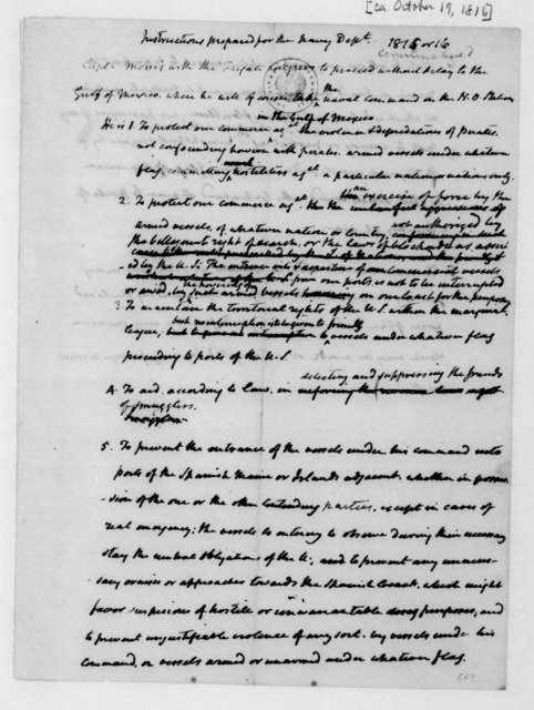 James Madison to Benjamin W. Crowninshield, October 19, 1816. Instructions.