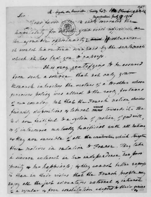 James Madison to Hyde de Neuville, July 17, 1816.