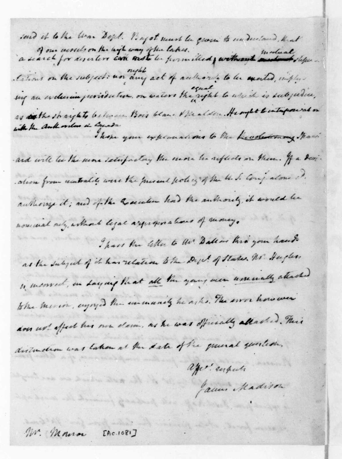 James Madison to James Monroe, August 15, 1816.