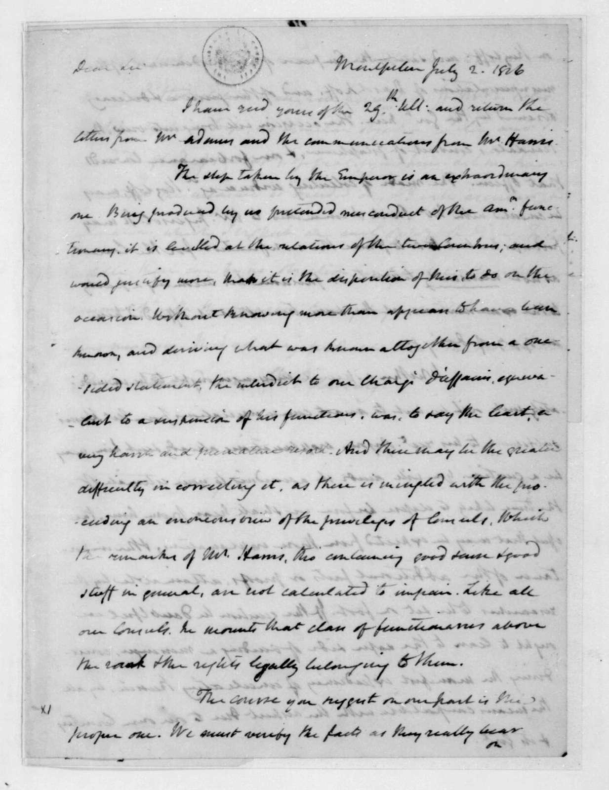 James Madison to James Monroe, July 2, 1816.