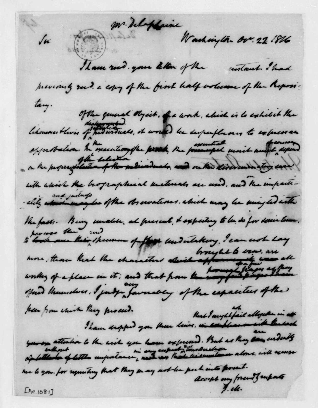 James Madison to Joseph Delaplaine, October 22, 1816.