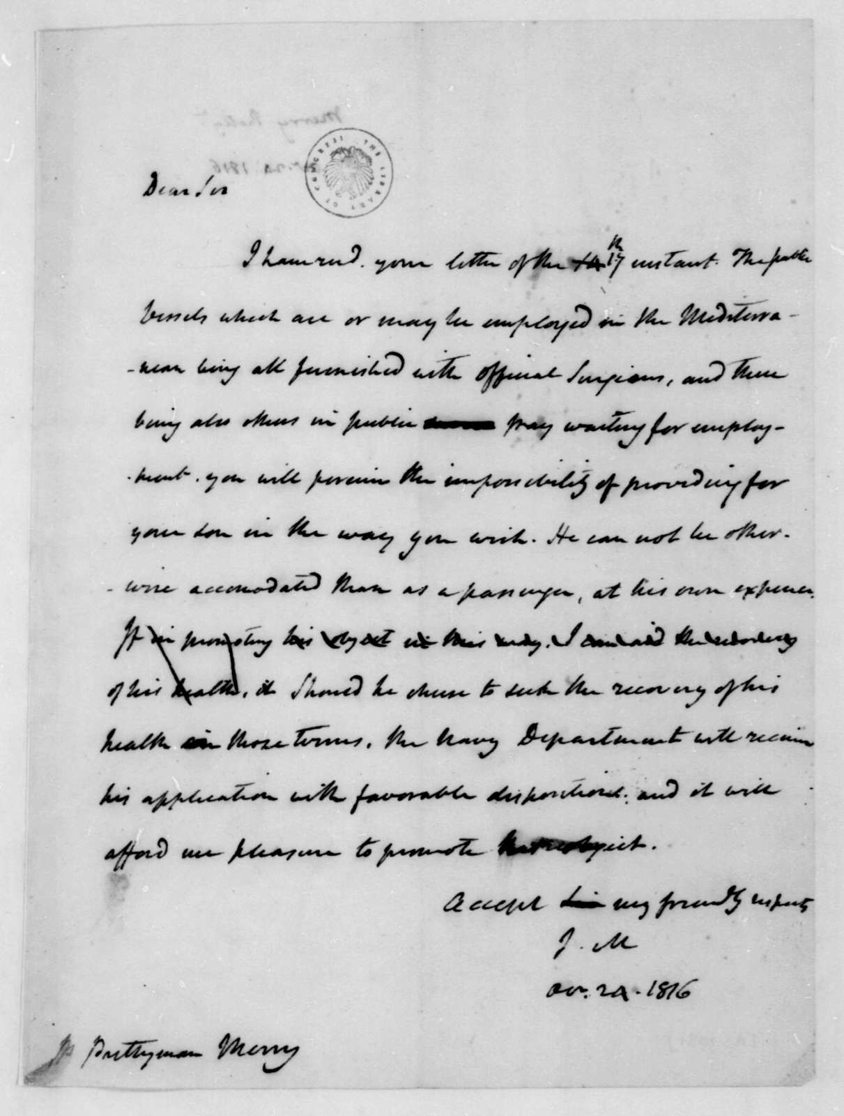 James Madison to Prettyman Merry, October 24, 1816.