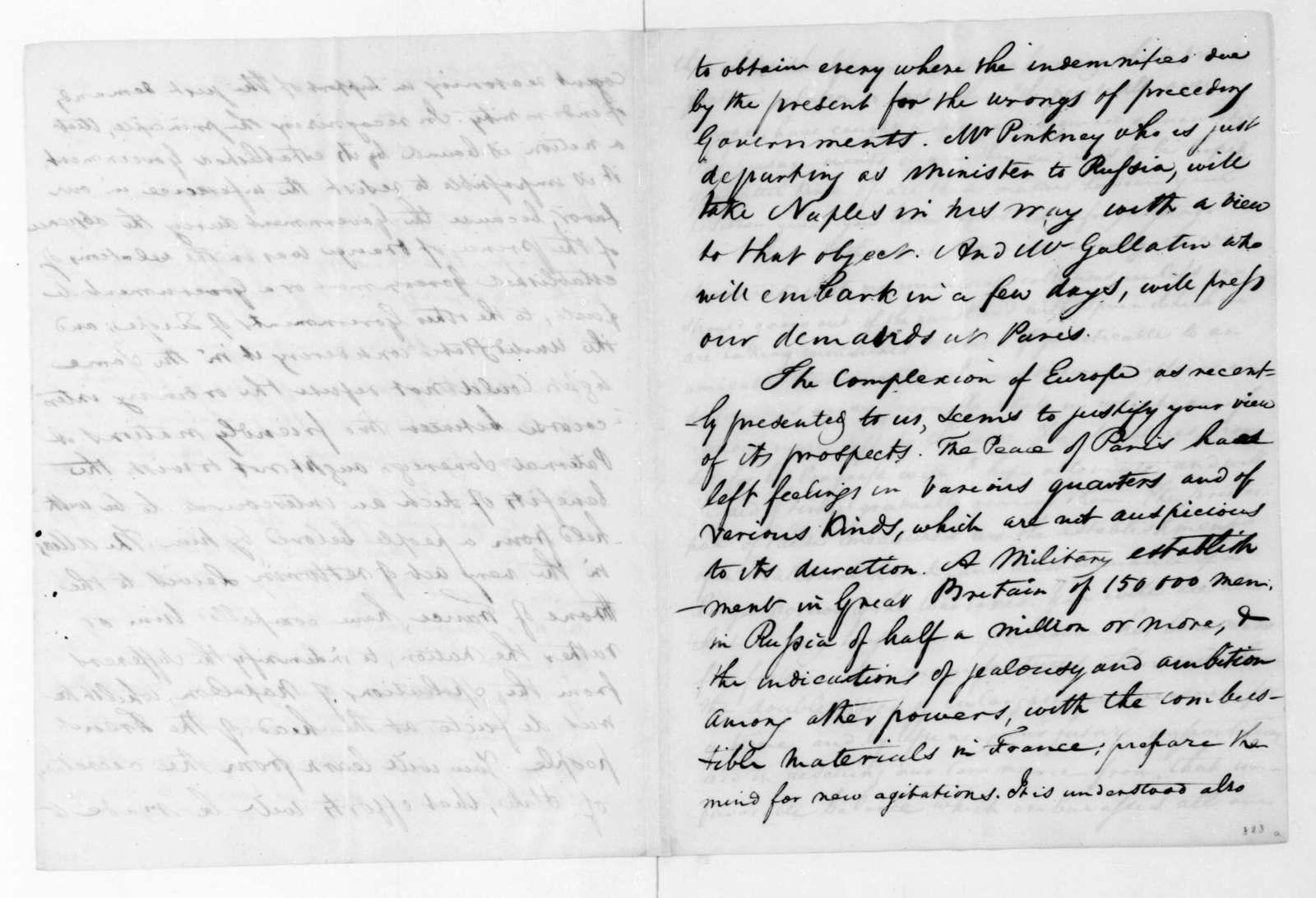 James Madison to William Eustis, May 12, 1816.