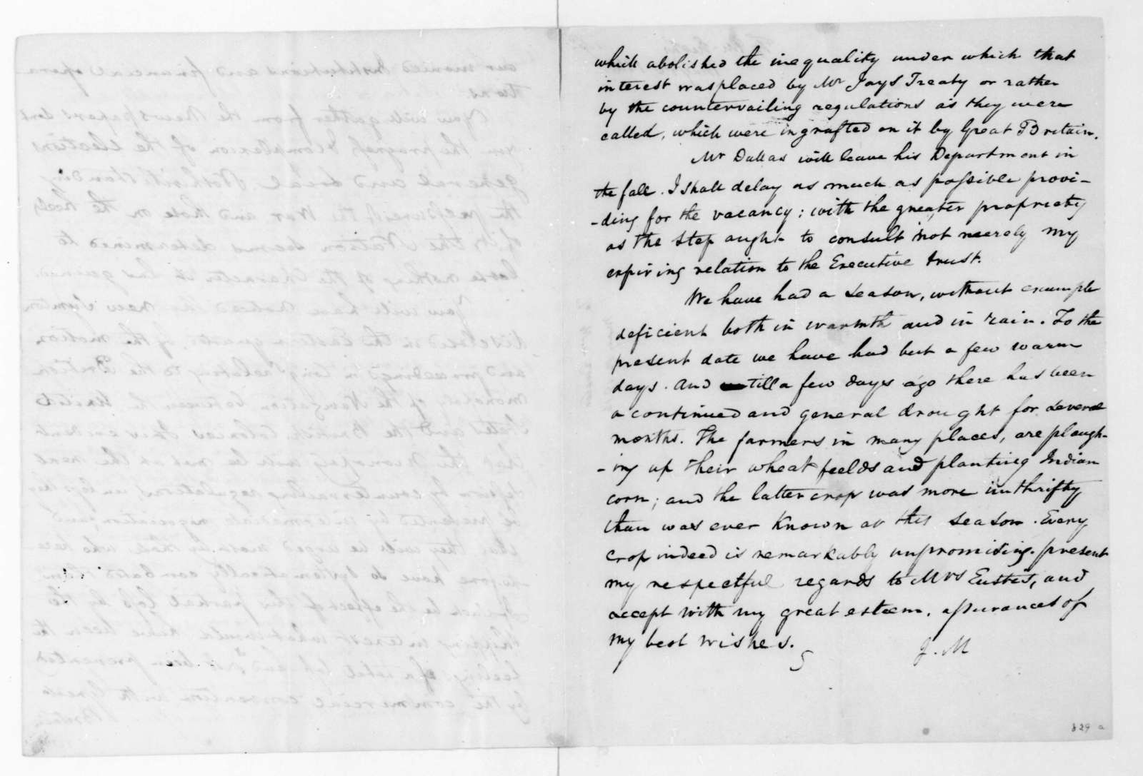 James Madison to William Eustis, May 12, 1816.
