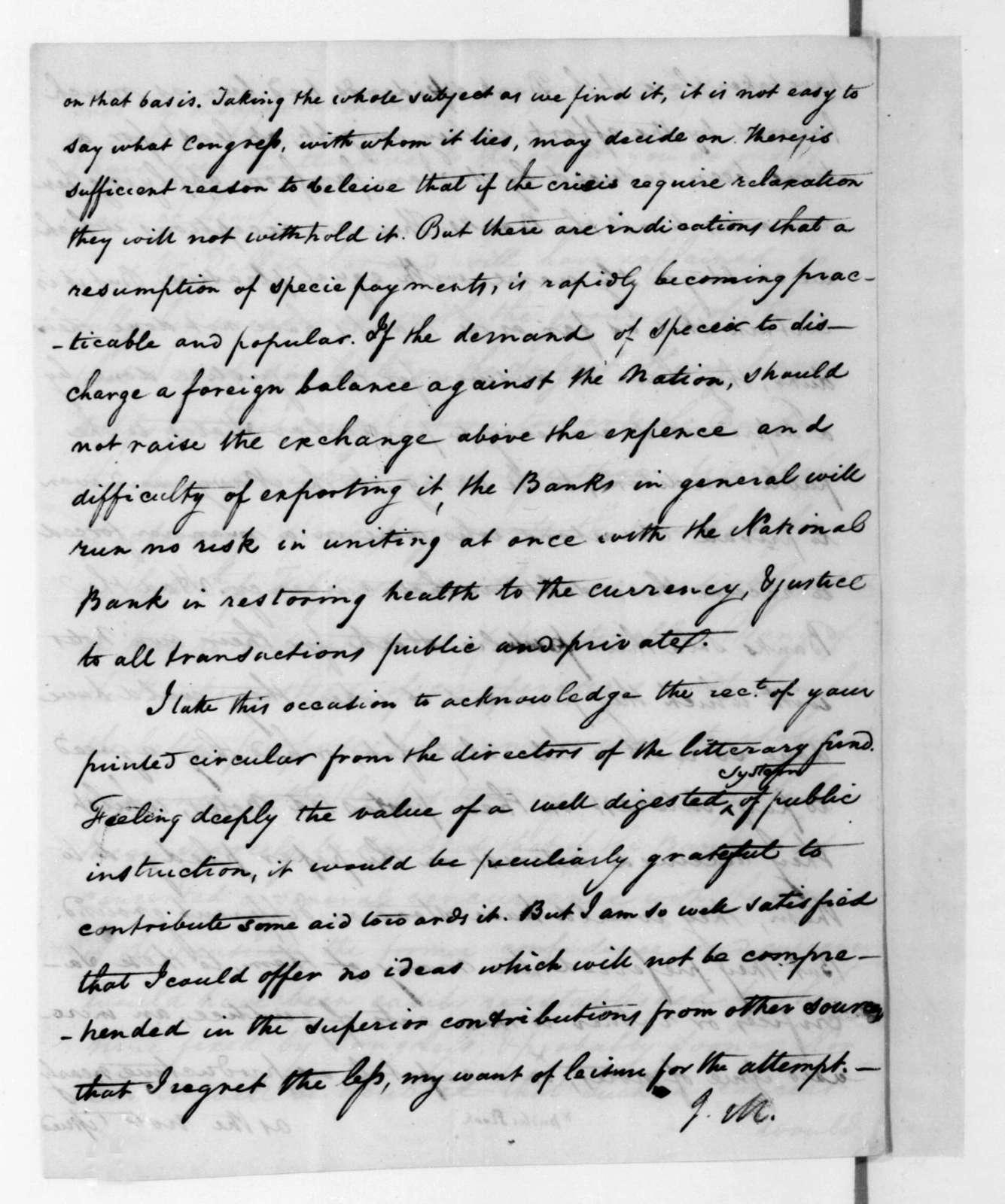 James Madison to Wilson Cary Nicholas, October 5, 1816.