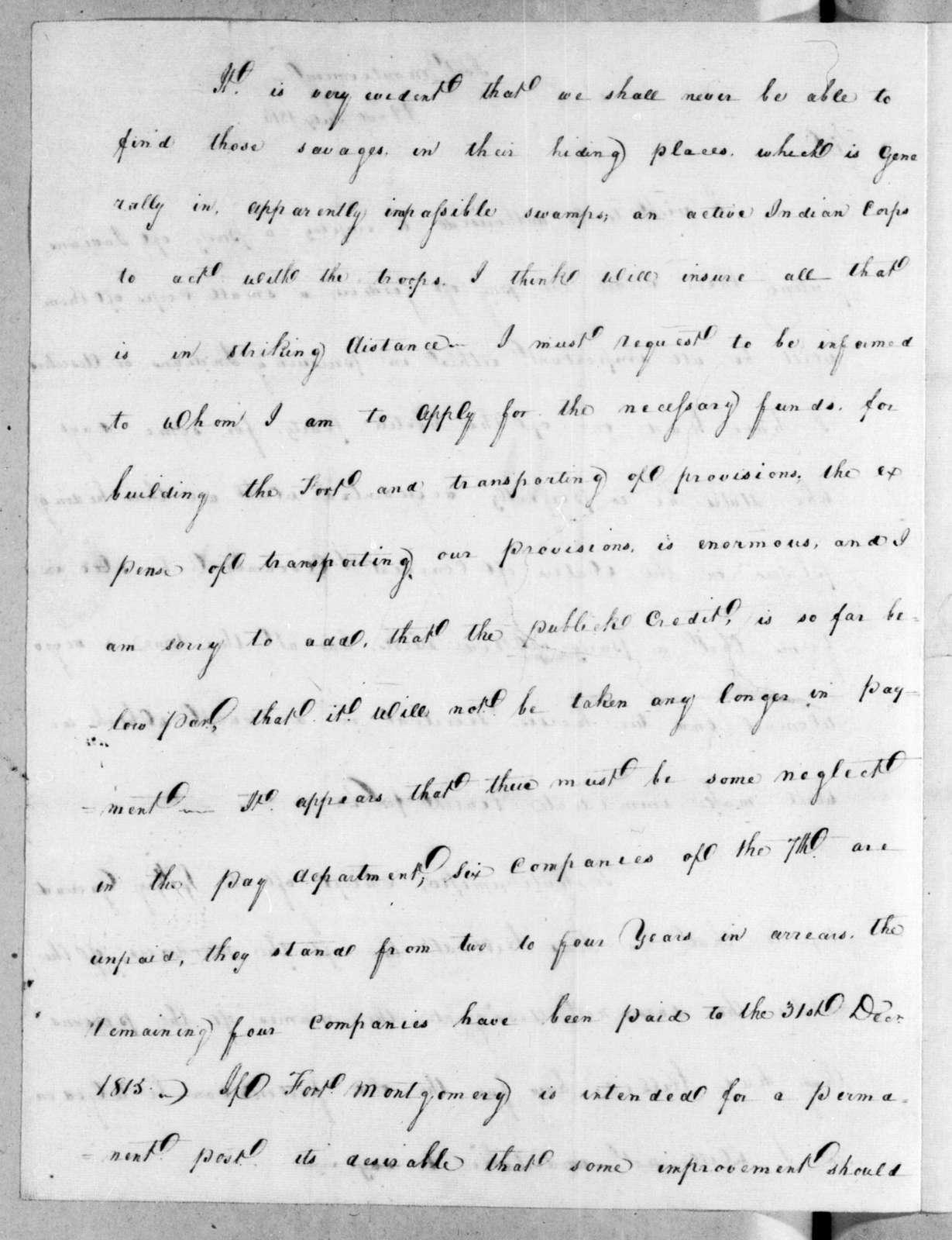 James McDonald to Andrew Jackson, July 22, 1816