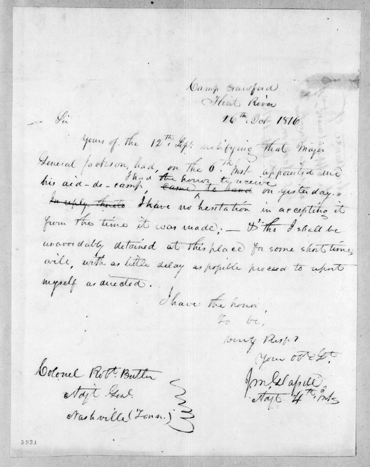 James McMillan Glassell to Robert Butler, October 26, 1816