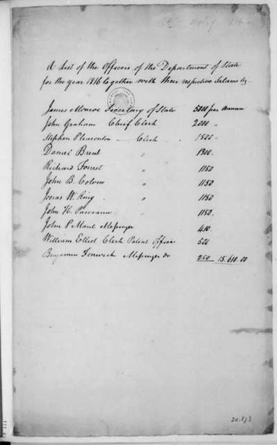 James Monroe. List of officers and their salaries. 1816.
