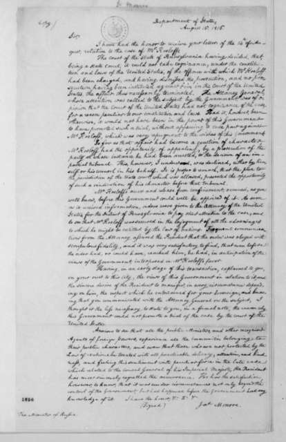 James Monroe to Andre de Daschkoff, August 16, 1816. With Note.