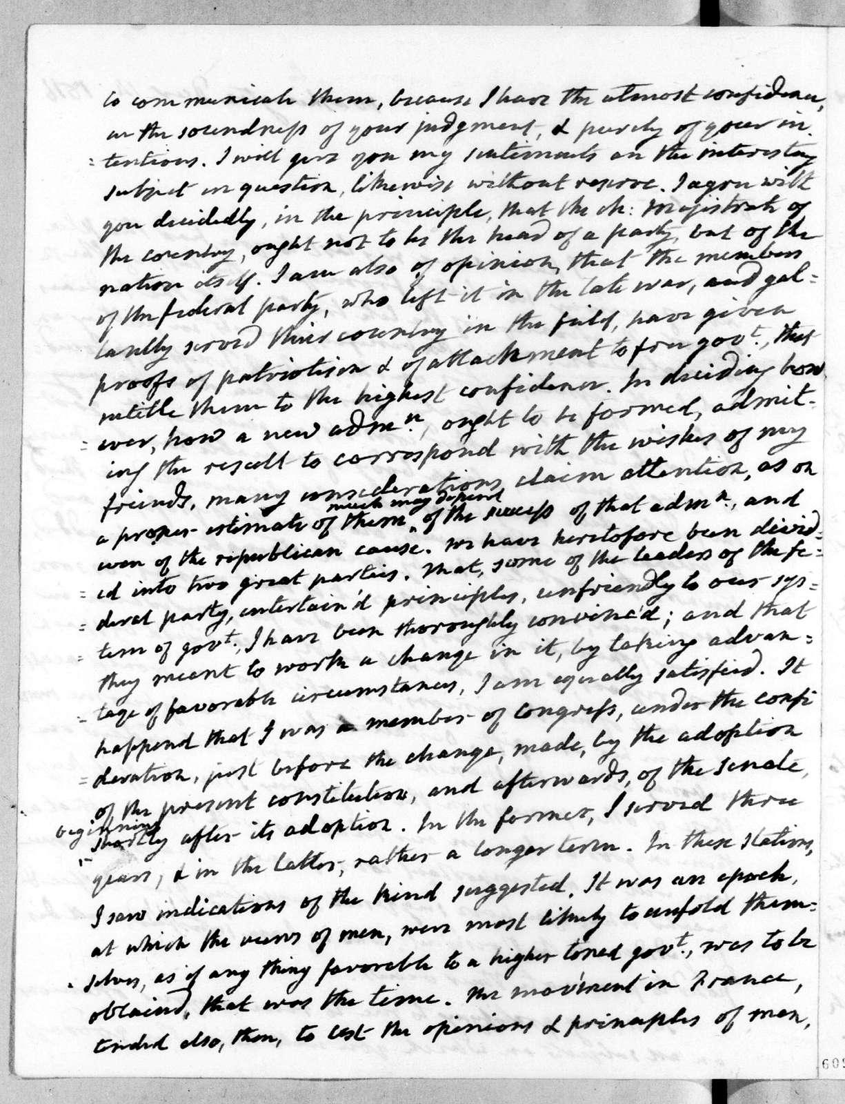 James Monroe to Andrew Jackson, December 14, 1816