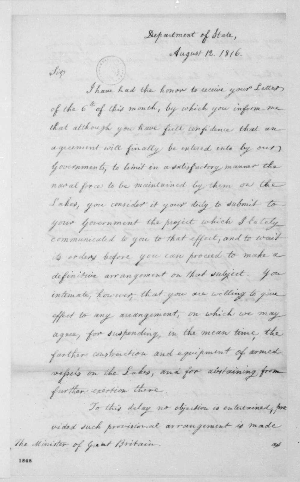 James Monroe to Charles Bagot, August 12, 1816.