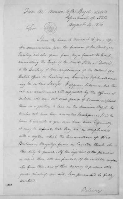 James Monroe to Charles Bagot, August 14, 1816.
