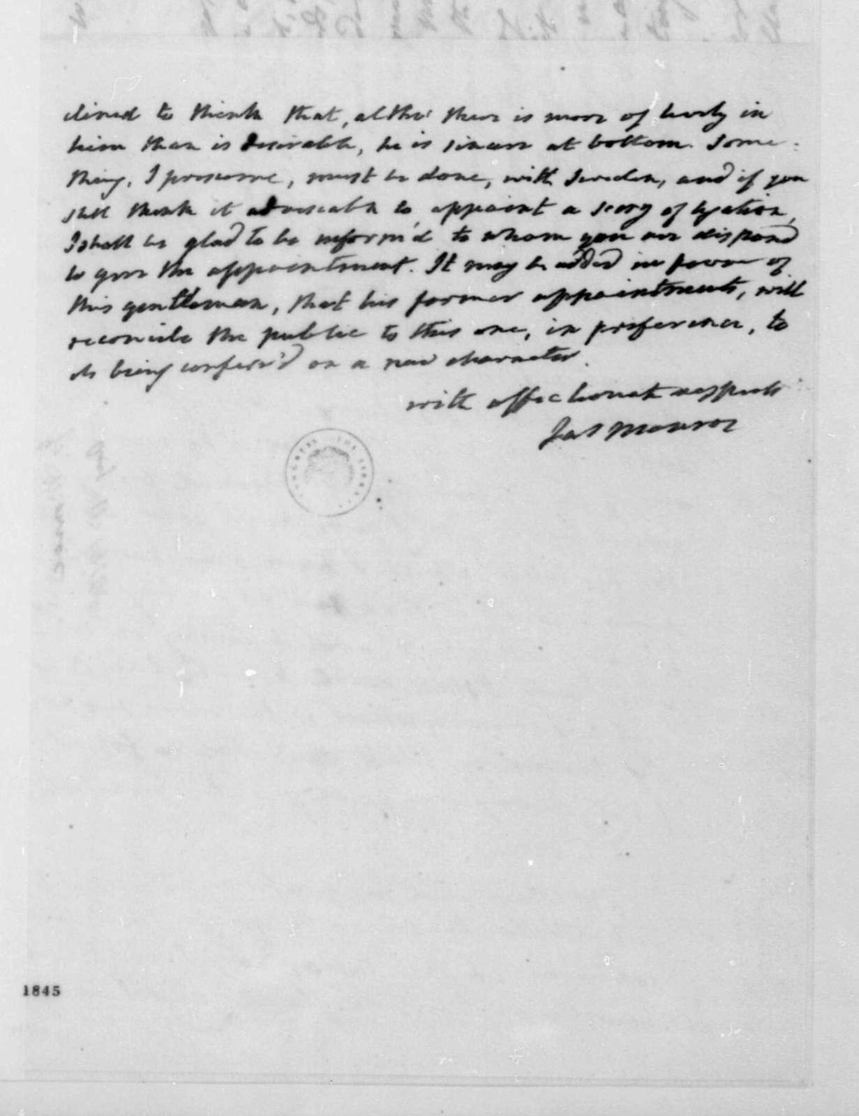 James Monroe to James Madison, August 11, 1816.